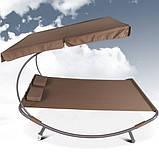 Лежак гамак с большим козырьком 200 х 145 см Коричневый, фото 2