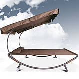 Лежак гамак с большим козырьком 200 х 145 см Коричневый, фото 3