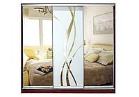 Шкаф купе Матролюкс на 3 двери + фасады из ДСП, зеркал, матовых зеркал + рисунок пескоструй на 1 двери