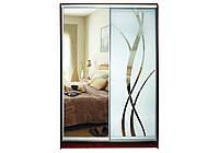 Шкаф купе Матролюкс на 2 двери + фасады из ДСП, зеркал, матовых зеркал + рисунок пескоструй на 1 двери
