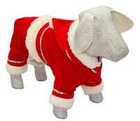 Костюм новогодний для собак Дед Мороз Той терьер, длина - 25 см, объем - 28 см