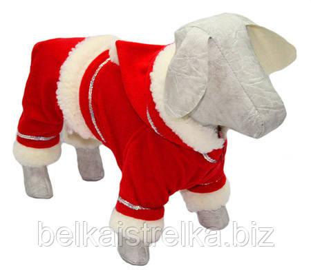 Костюм новогодний для собак Дед Мороз №0, длина - 25 см, объем - 40 см О 131