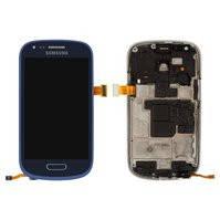 Дисплей для мобильного телефона Samsung I8190 Galaxy S3 mini, синий, с сенсорным экраном, с рамкой, original (PRC)