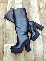 Сапоги женские на высоком удобном каблуке натуральная кожа  черный цвет