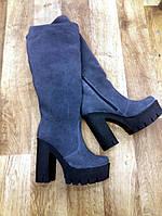 Сапоги женские на удобном каблуке натуральный замш синий цвет