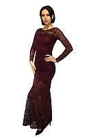 Длинное бордовое вечернее платье (марсала), фото 1