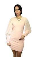 Вечернее платье с полупрозрачными рукавами (Бежевое), фото 1