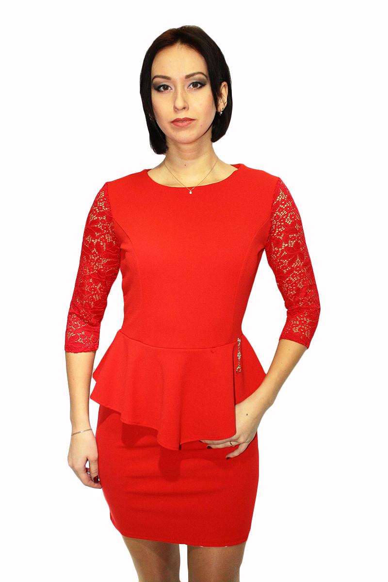 Вечернее платье красного цвета, с баской / dress ПКТ-3