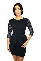 Вечернее платье темно-синего цвета (с баской), фото 1