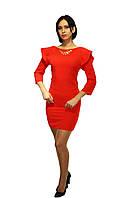 Вечернее платье с драпировкой, цвет - красный