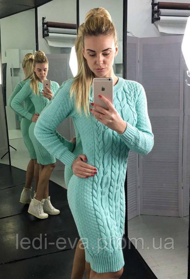 Платье крупной вязки длинное