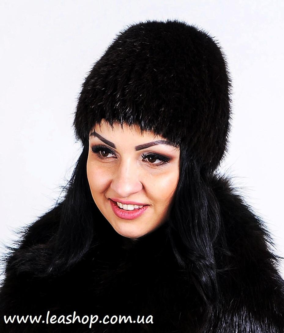 Черная меховая шапка из нутрии