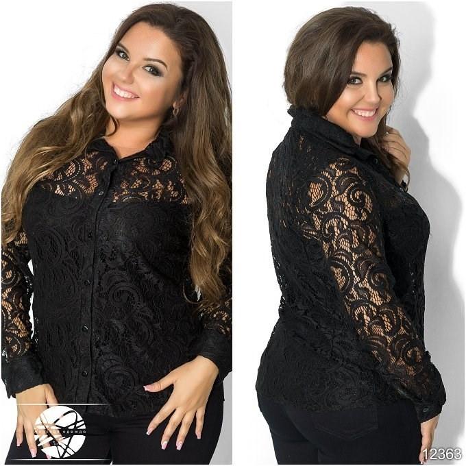 8010fe8a1a5 Женская гипюровая рубашка черного цвета с длинным рукавом. Модель 12363. -  Irse в Одессе