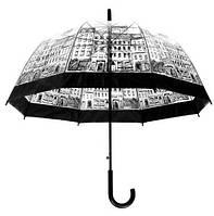 Прозрачный зонт трость с рисунком города. Полуавтомат