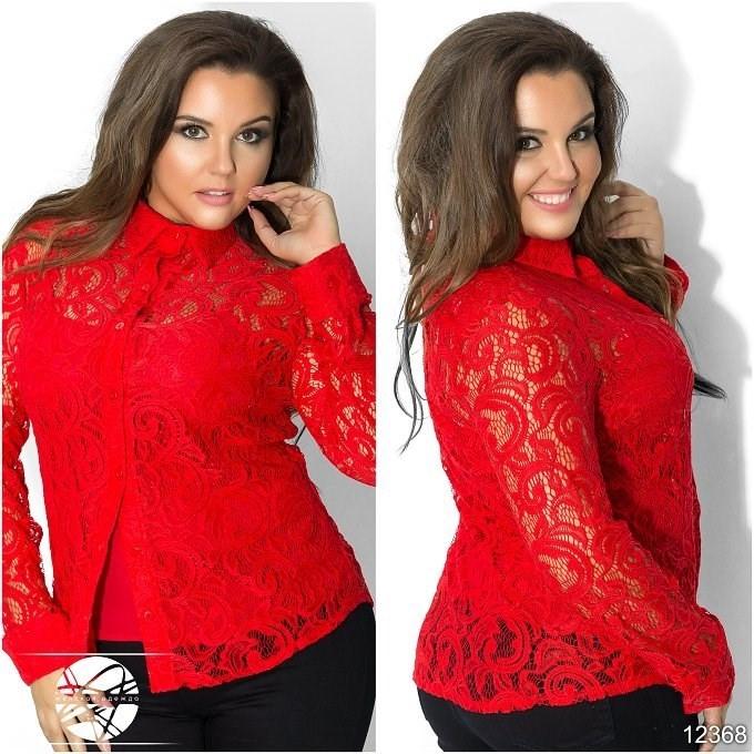 b009ee365d8 Женская нарядная гипюровая блуза красного цвета с длинным рукавом. Модель  12368. р.48