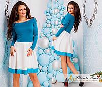 Платье из французского трикотажа двухцветное с гипюром