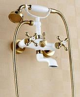 Смеситель кран с лейкой в ванную комнату белый, фото 1