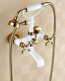 Змішувач кран з лійкою в ванну кімнату білий, фото 3