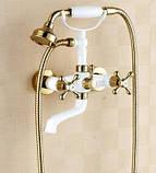 Змішувач кран з лійкою в ванну кімнату білий, фото 4