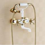 Змішувач кран з лійкою в ванну кімнату білий, фото 5