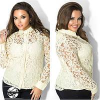 Женская нарядная гипюровая блуза молочного цвета с длинным рукавом. Модель 12365. Батальные размеры.