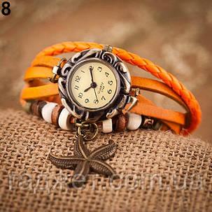 Женские наручные часы браслет с подвеской морская звезда оранжевого цвета., фото 2