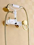 Смеситель с лейкой в ванную комнату белый 0157, фото 2