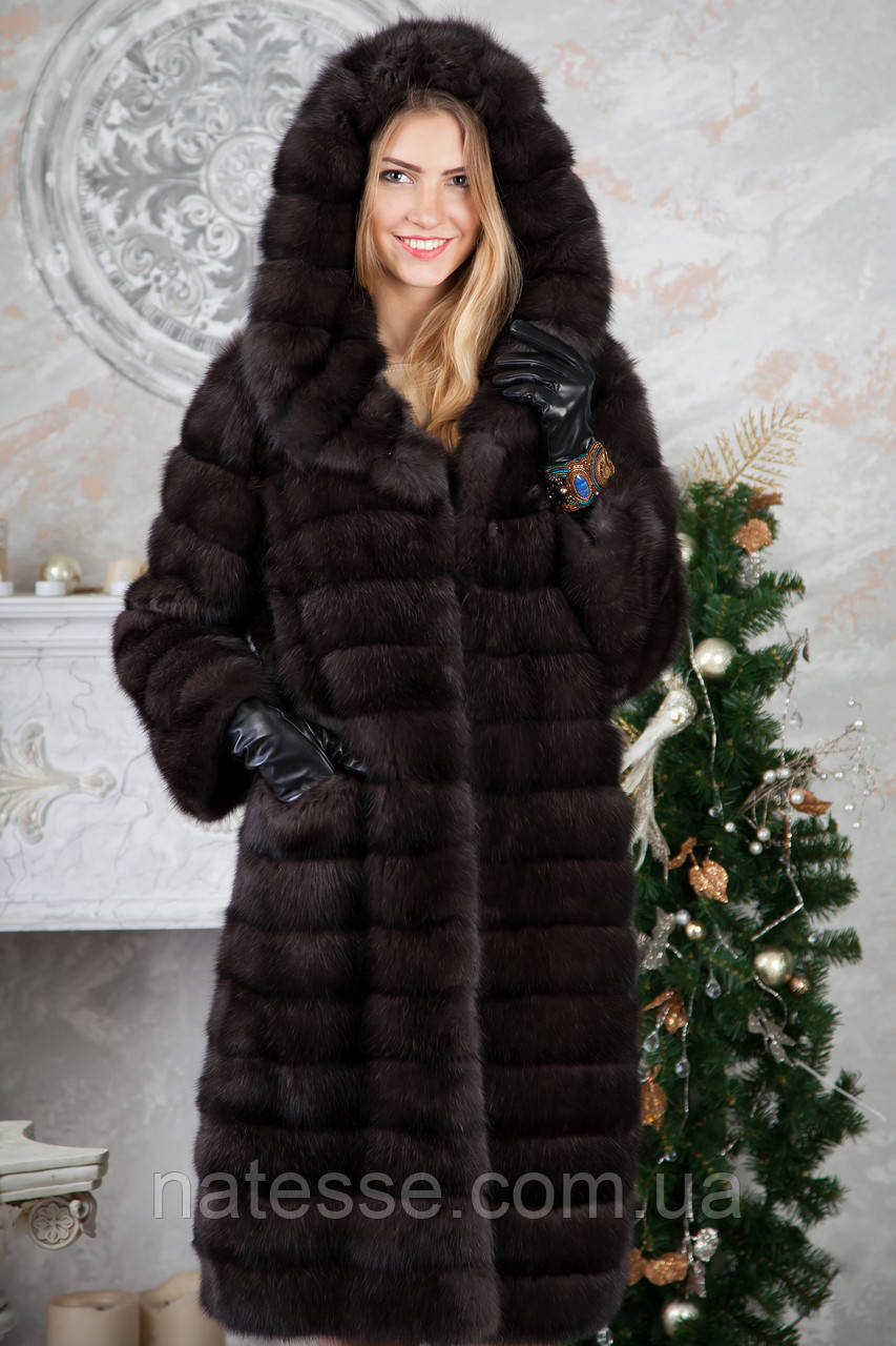 Шуба з капюшоном з баргузинського соболя sable jacket fur coat