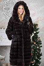 Шуба с капюшоном из баргузинского соболя sable jacket fur coat
