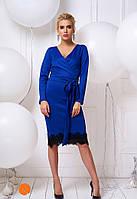 Красивое женское синее платье миди с поясом размер S 42 цвет електрик