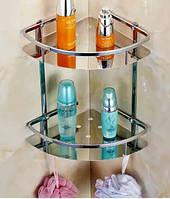 Полочка для ванной комнаты угловая настенная двух ярусная, фото 1