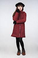 Демисезонное пальто для девочки из стеганной плащевой ткани К-90