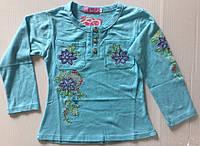 Голубая кофта с вышивкой 2-5 лет