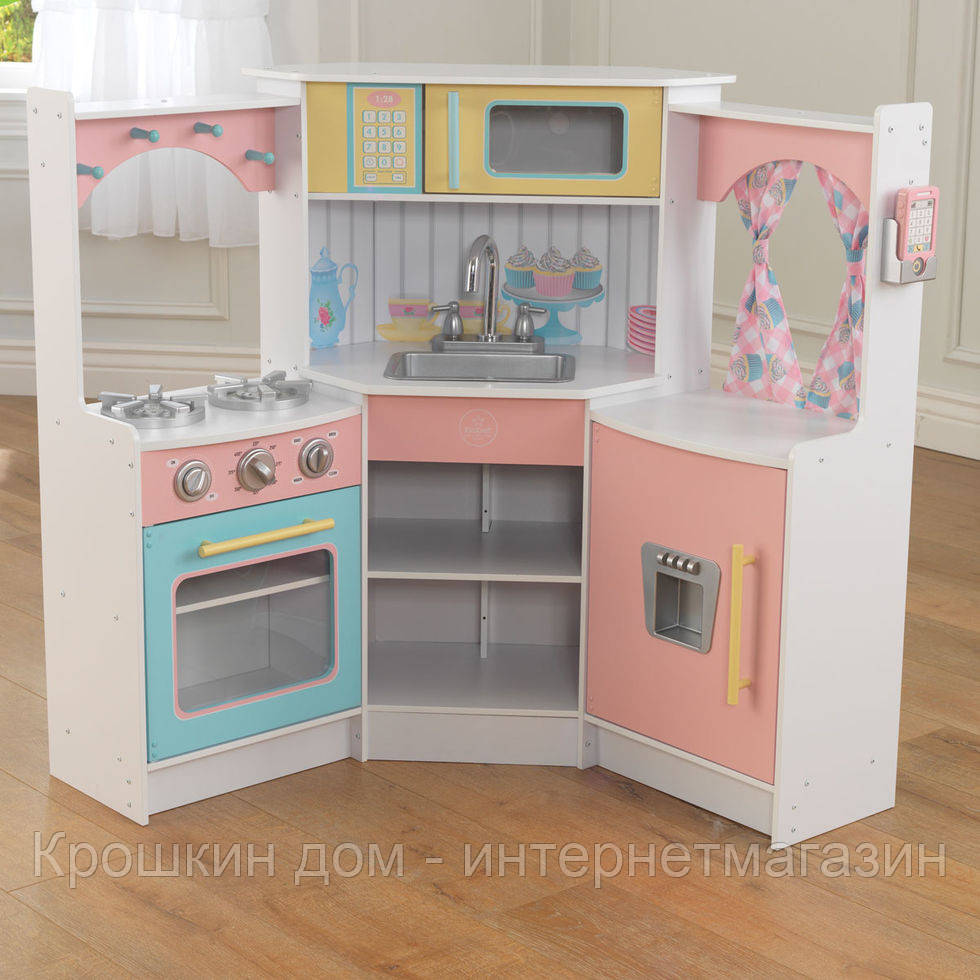 Детская кухня угловая Deluxe KidKraft 53368 - Крошкин дом - интернет-магазин в Одессе