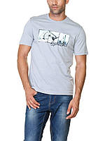 Мужская футболка LC Waikiki голубого цвета с надписью Freedom
