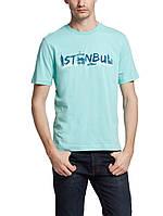 Мужская футболка LC Waikiki голубого цвета с надписью ISTANBUL