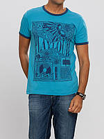 Мужская футболка LC Waikiki голубого цвета с надписью PlayLoud