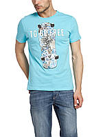 Мужская футболка LC Waikiki голубого цвета с надписью To be free