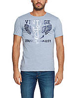 Мужская футболка LC Waikiki голубого цвета с надписью Vintage