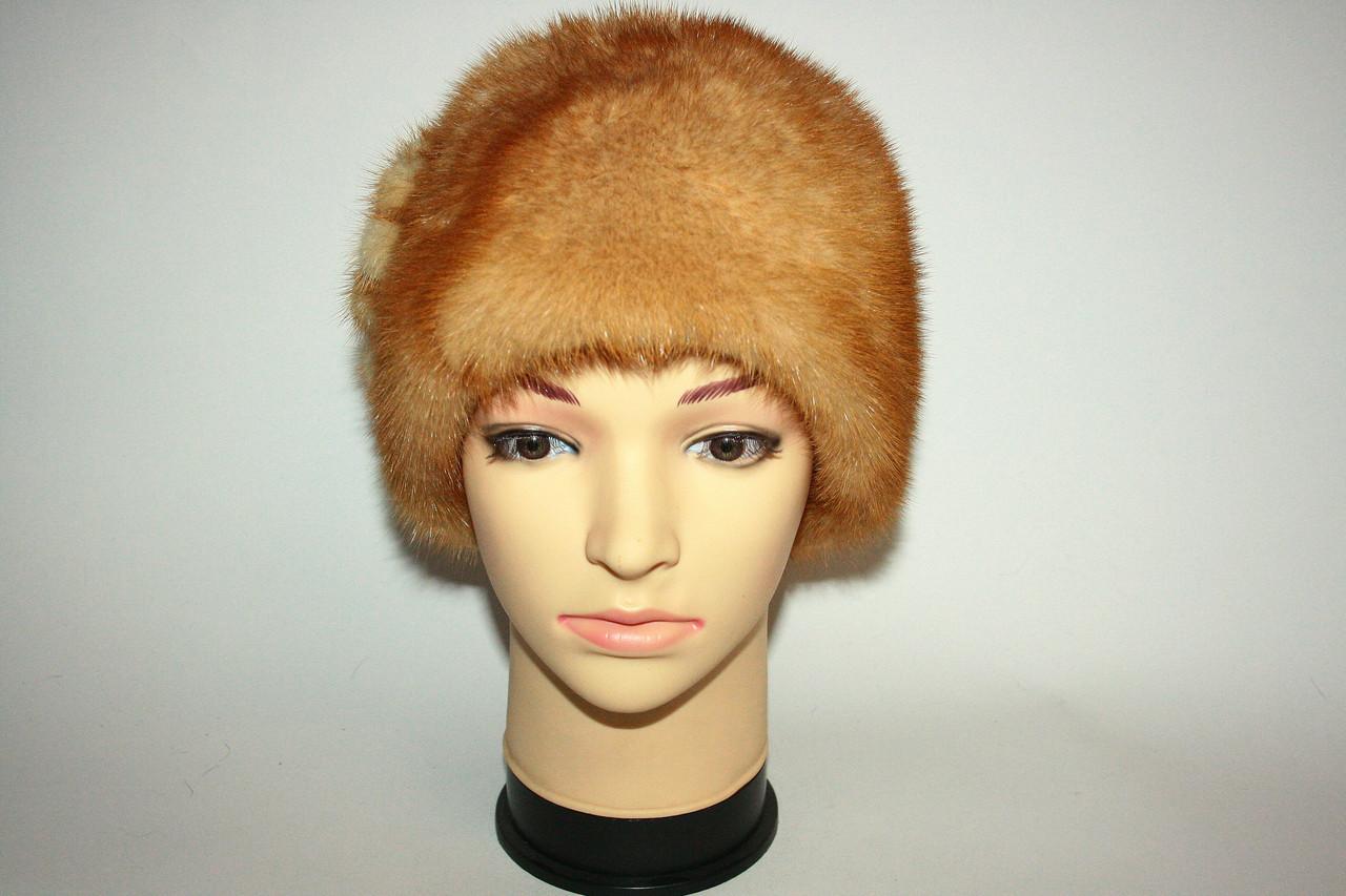 Берет женский светло-коричневого цвета, норка - Магазин «OSCAR FUR». Дубленки. Шубы. Куртки. Шапки. в Одессе