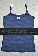 Майка р.XL нательная женская хлопковая пр-во Donella Турция синяя в белый горошек