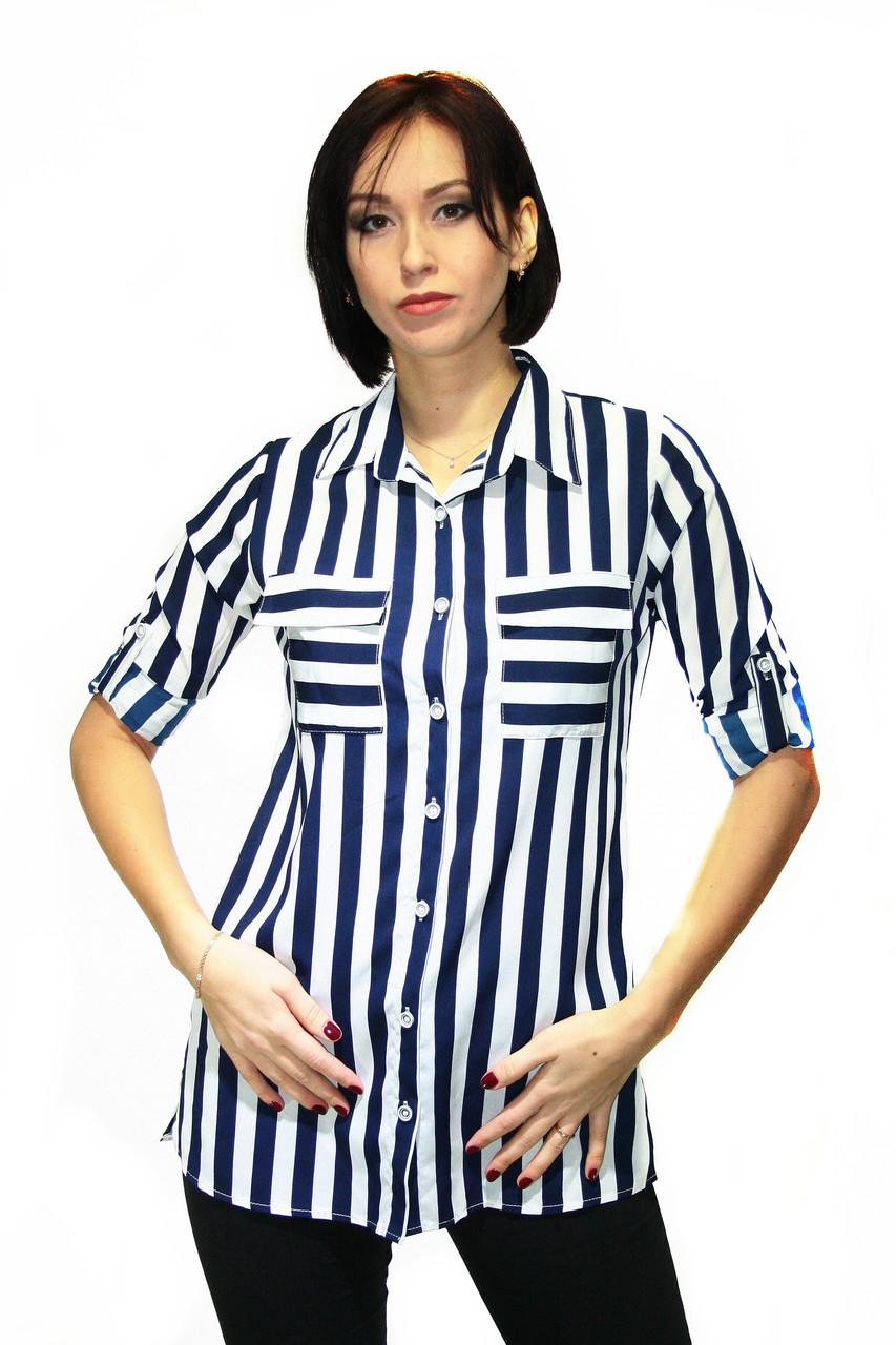 Блузка в вертикальную темно-синюю полоску / striped shirt B - 12