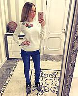 Стильный свитер женский с вышитыми цветами