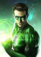 Картина 40х60 см Зелёный Фонарь Зеленый герой