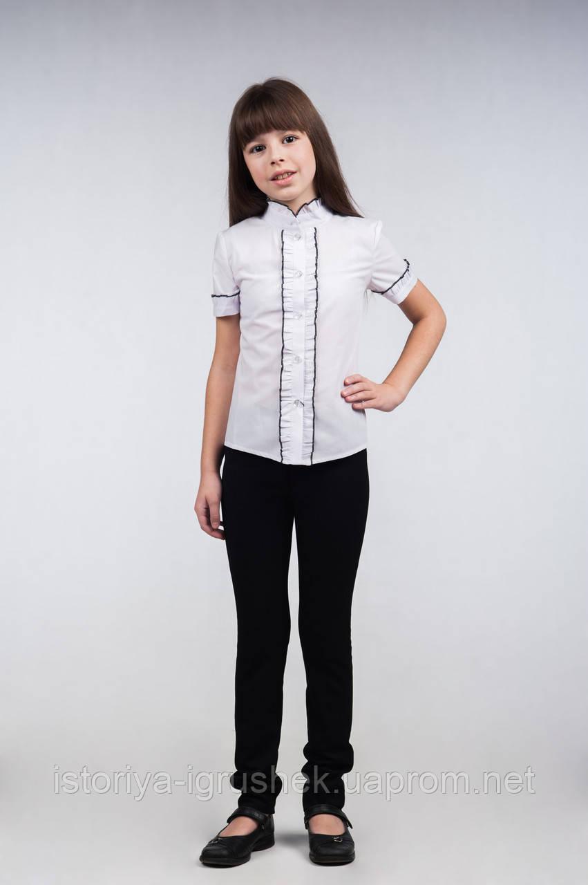 Блуза школьная белая, для девочки с коротким рукавом Б-34