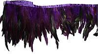 Перья декоративные петуха на ленте Фиолетовые с черным 25 см
