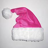 Новорічна Шапка Дитяча Діда Мороза Ковпак Санта Клауса Santa Claus рожева