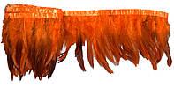 Перья декоративные петуха на ленте Оранжевые с черным 25 см
