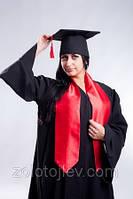Мантия магистра черная с красным шарфом
