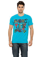 Мужская футболка LC Waikiki голубого цвета с надписью Mons ter party